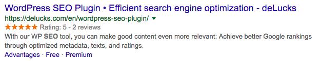 Ankerlinks und Sternebewertungen in Google Suchergebnissen