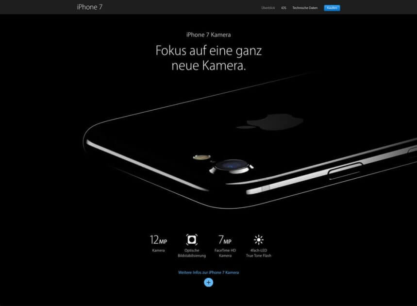 Screenshot holistic website of Apple