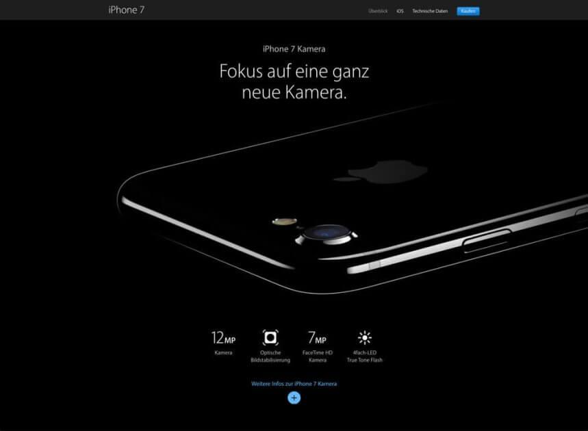 Screenshot holistic website of Apple