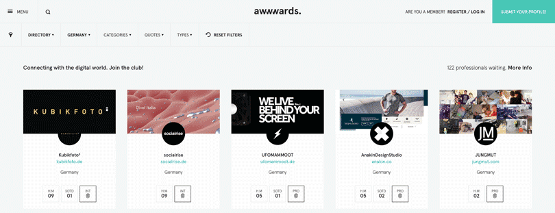 Awwwards Directory Screenshot