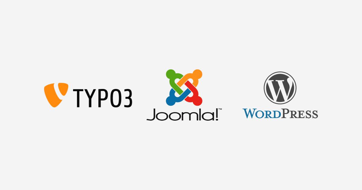 Typo 3, Joomla! und WordPress Logo