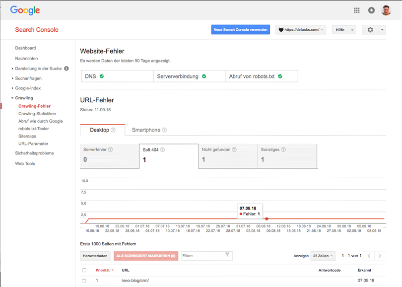 Alte Google Search Console Crawling Fehler
