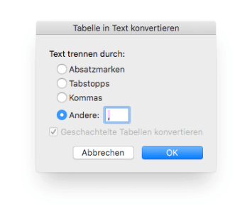Tabelle kommasepariert konvertieren